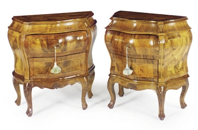A PAIR OF ITALIAN WALNUT SERPE