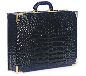 A FAUX CROCODILE BRIEFCASE,