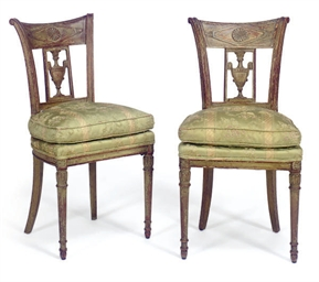A PAIR OF FRENCH GREEN-PAINTED