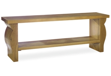 A CONTEMPORARY OAK CONSOLE TAB