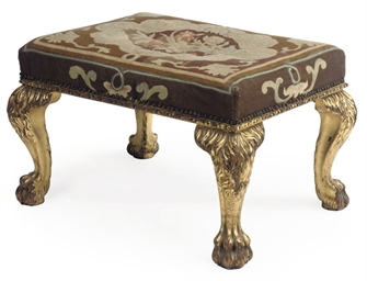A GILT MAHOGANY STOOL