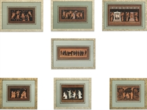 SEVEN HAND-COLURED ETCHINGS FOR DESIGNS TAKEN FROM THE VASES IN THE COLLECTION OF SIR WILLIAM HAMILTON
