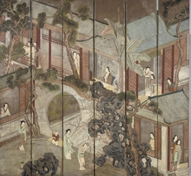 A CHINESE WALLPAPER SIX-FOLD SCREEN