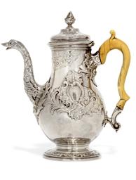 A GEORGE II ROCOCO SILVER COFF