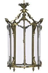 A GILT-BRONZE HALL LANTERN