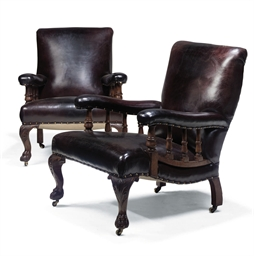 A PAIR OF VICTORIAN OAK ARMCHA