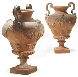 A PAIR OF ITALIAN TERRACOTTA U