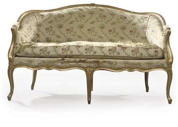 A LOUIS XV GILTWOOD CANAPE