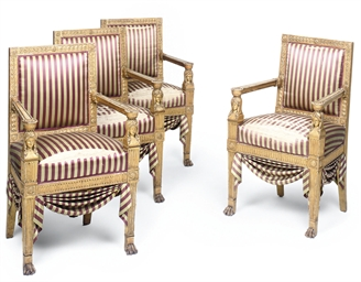A SET OF FOUR ITALIAN GILTWOOD