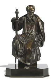 A BRONZE FIGURE OF ST.PAUL