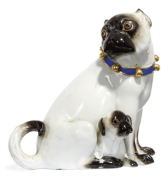 A MEISSEN MODEL OF A PUG AND P