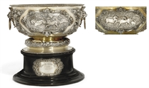 THE LIVERPOOL AUTUMN CUP: AN IMPOSING VICTORIAN PARCEL-GILT RACING TROPHY BOWL