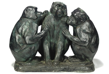 A BRONZE MODEL OF THREE SEATED