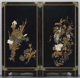 A Two-Panel Inlaid-Lacquer Scr