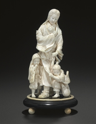 An Ivory Model of Tokiwa Gozen and Her Three Sons**
