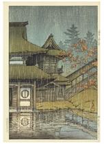 Sendai Yamadera (Mountain temple, Sendai), from the series Nihon fukei shu higashi Nihon hen (Collection of scenic views of Japan: Eastern Japan), 1933.3  Chihan no ame (Matsue) (Lakeside shower [Matsue]), 1932.2  Shinobazu no ike no ame (Rain at Shonobazu Pond), from the series Tokyo nijukkei (Twenty views of Tokyo), [first published 1929]