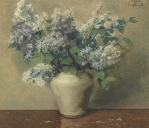 Lilacs in white vase, 1954