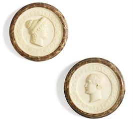 A PAIR OF ALABASTER PORTRAIT R