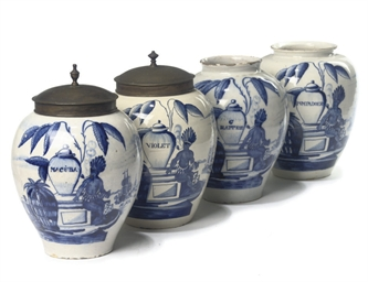 A SET OF FOUR DUTCH DELFT BLUE