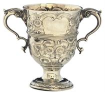 A GEORGE III IRISH SILVER TWO-HANDLED CUP