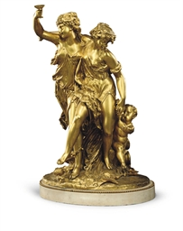A FRENCH GILT-BRONZE BACCHIC F