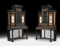 A PAIR OF ENGLISH LACQUERED-BRASS AND PORCELAIN-MOUNTED EBONY AND TULIPWOOD PARQUETRY CABINETS-ON-STANDS