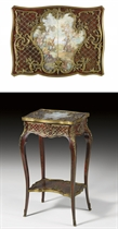 A FRENCH ORMOLU-MOUNTED, BRASS-INLAID, EBONY AND TORTOISESHELL TABLE A OUVRAGE