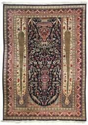 A very fine silk prayer rug