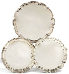 THREE 20TH CENTURY SILVER SALV