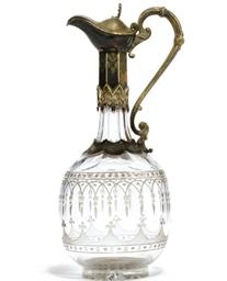 A VICTORIAN GLASS CLARET JUG W