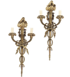 A PAIR OF FRENCH GILT BRASS TW