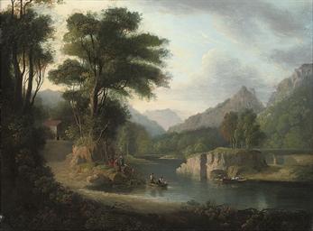 A mountainous wooded river lan