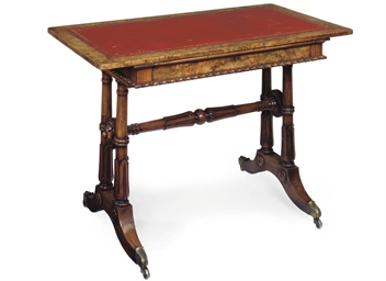 A GEORGE IV WALNUT WRITING TAB