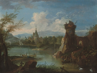 A river landscape with ferry b