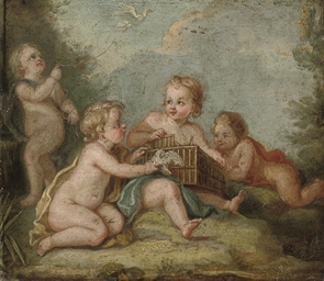 Putti disporting with doves