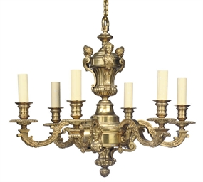 AN ORMOLU SIX-LIGHT CHANDELIER