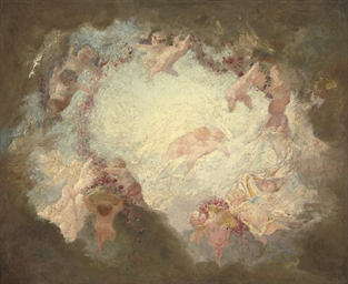 Putti disporting with garlands