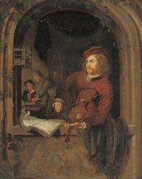 Portrait of a fiddler in a cas