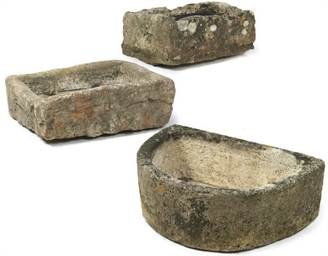 THREE ENGLISH STONE TROUGHS