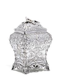 A GEORGE III SILVER TEA CADDY,
