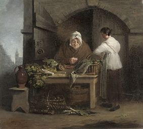 An old woman at a table of veg