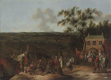 A landscape with a military en