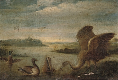 A river landscape with a heron