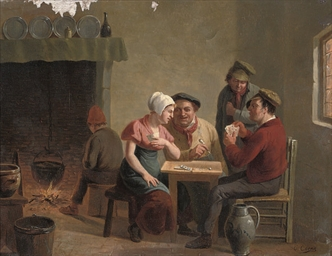 Peasants playing cards in a ta