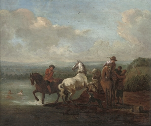 A river landscape with riders