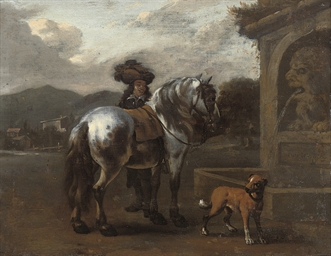 A figure with his horse and do
