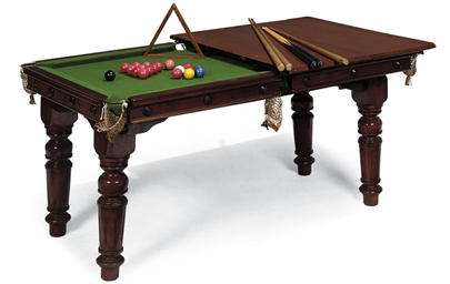 A MAHOGANY COMBINED BILLIARD A