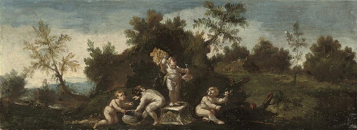 A wooded landscape with putti