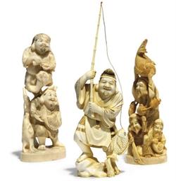 Three Japanese ivory Okimono