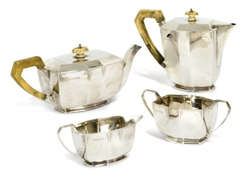 A FOUR-PIECE SILVER ART DECO S